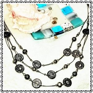Jewelry - Silver coin antique-style multistrand necklace